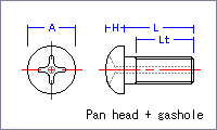 Pan head + gashole screw [metric] Drawing