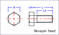 Hexagon head screw [metric] Drawing